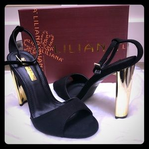 Black and gold chunky high heels sz 6.5 👠